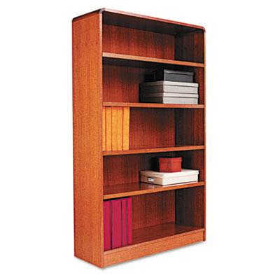 Radius Corner Wood Veneer Bookcase, Five-Shelf, 35-5/8 x 11-3/4