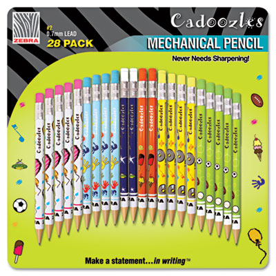 Cadoozles Mechanical Pencil, #2, Assorted Barrels, 0.7 mm, 28/Pa