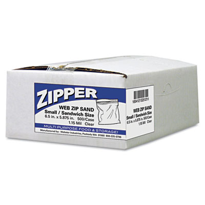 Recloseable Zipper Seal Sandwich Bags, 1.15mil, 6.5 x 5.875, Cle
