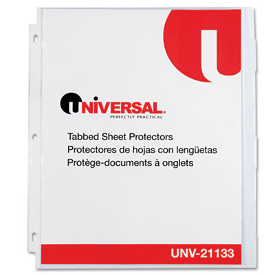 Heavy Weight Sheet Protector with Index Tabs, Nonglare, Clear, 8