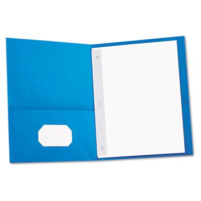 Two-Pocket Portfolios w/Tang Fasteners, 11 x 8-1/2, Light Blue,
