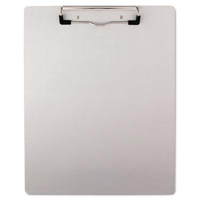 "Brushed Aluminum Plastic Clipboard, 1/2"" Capacity, Holds 8-1/2w"