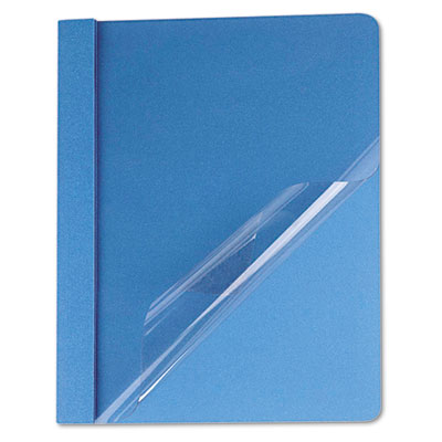 Clear Front Report Cover, Tang Fasteners, Letter Size, Light Blu