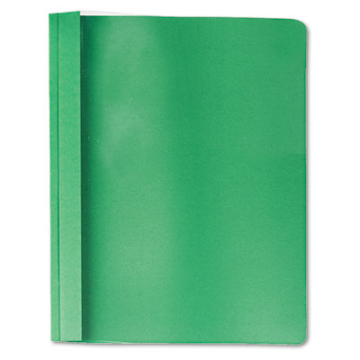 Clear Front Report Cover, Tang Fasteners, Letter Size, Green, 25
