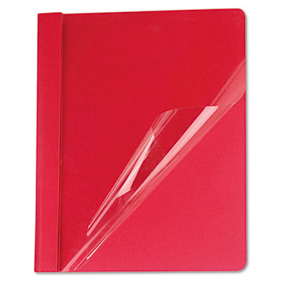 Clear Front Report Cover, Tang Fasteners, Letter Size, Red, 25/B