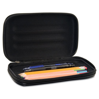Large Soft-Sided Pencil Case, Fabric with Zipper Closure, Black