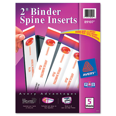 "Custom Binder Spine Inserts, 2"" Spine Width, 4 Inserts/Sheet, 5"