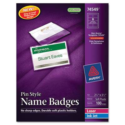 Badge Holder Kit w/Laser/Inkjet Insert, Top Load, 2 1/4 x 3 1/2,