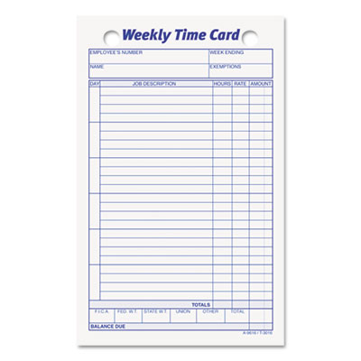 Employee Time Card, Weekly, 4-1/4 x 6-3/4, 100/Pack