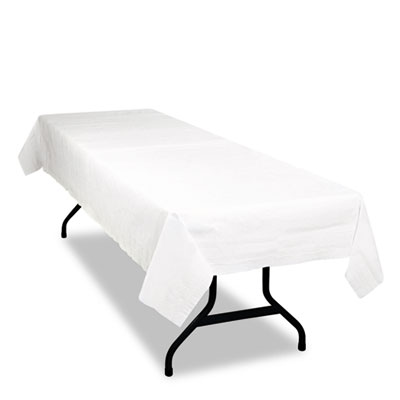 Table Set Poly Tissue Table Cover, 54 x 108, White, 6/Pack