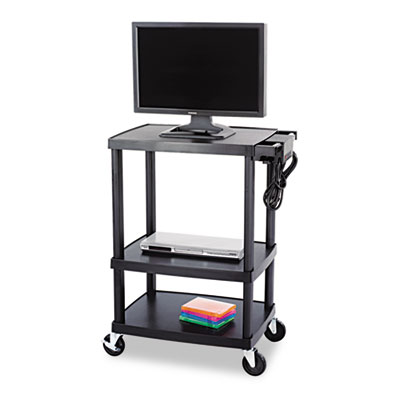 Multimedia Cart, Three-Shelf, 27-3/4w x 18-1/2d x 42h, Black