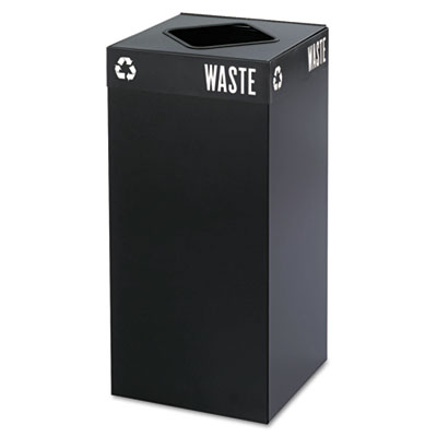 Public Square Recycling Container, Square, Steel, 31gal, Black