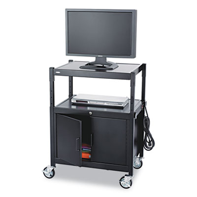 AV Adjustable Cart With Locking Cabinet, 26-3/4w x 20-1/2d x 26