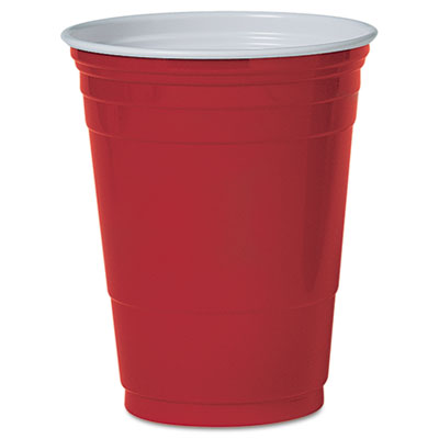 Plastic Party Cold Cups, 16oz, Red, 50/Pack