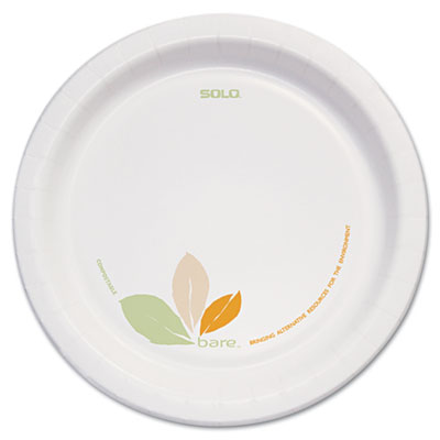 "Bare Paper Dinnerware, 8 1/2""Plate, Green/Tan, 250/Carton"