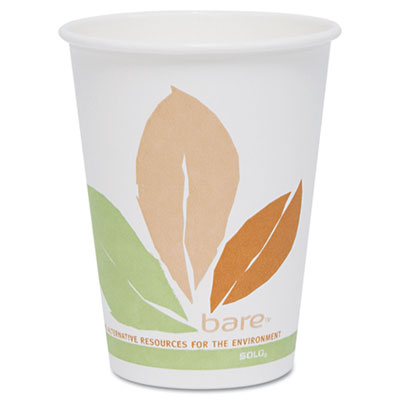 Bare PLA Hot Cups, White w/Leaf Design, 12oz, 300/Carton