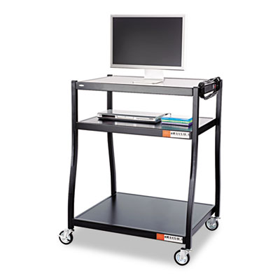 Wide Base AV Cart, Three-Shelf, 35w x 28d x 54-1/2h, Black