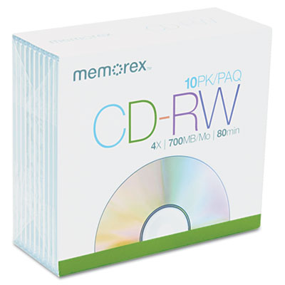 CD-RW Discs, 700MB/80min, 4x, w/Slim Jewel Cases, Silver, 10/Pac