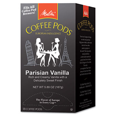 Coffee Pods, Parisian Vanilla, 18 Pods/Box