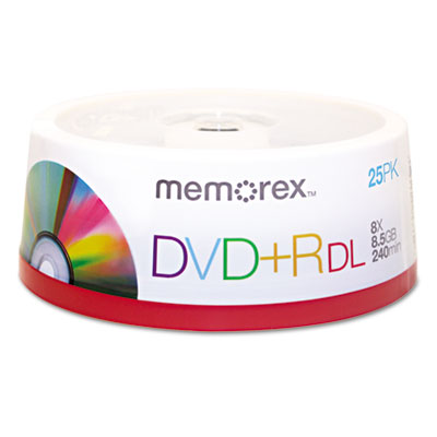 Dual-Layer DVD+R Discs, 8.5GB, 25/Pack