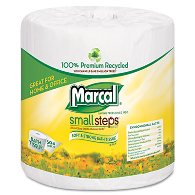 Small Steps 100% Recycled Two-Ply Bath Tissue, 504 Sheets/Roll,