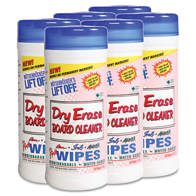 Dry Erase Cleaner Wipes, Cloth, 7 x 12, 30/Canister, 6 Canisters