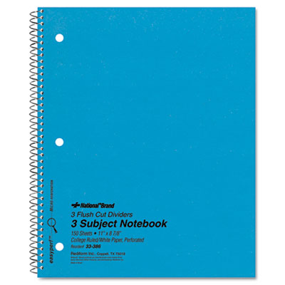 3-Subject Wirebound Notebook, College Rule, Letter, WE, 150 Shee