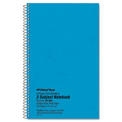 3-Subject Wirebound Notebook, College Rule, 6 x 9-1/2, WE, 150 S