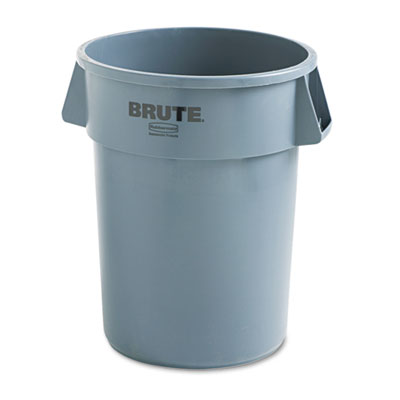 Brute Refuse Container, Round, Plastic, 44gal, Gray