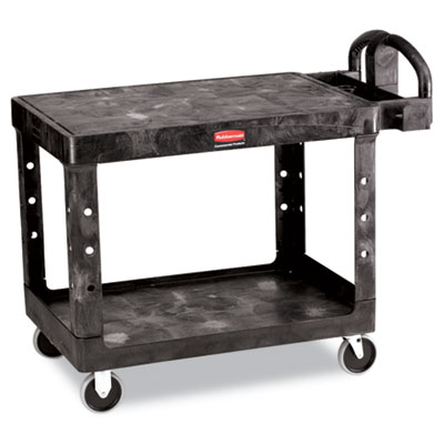 Flat Shelf Utility Cart, Two-Shelf, 25-1/4w x 44d x 38-1/8h, Bla