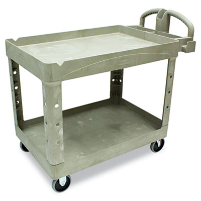 Heavy-Duty Utility Cart, Two-Shelf, 25-1/4w x 44d x 39h, Beige