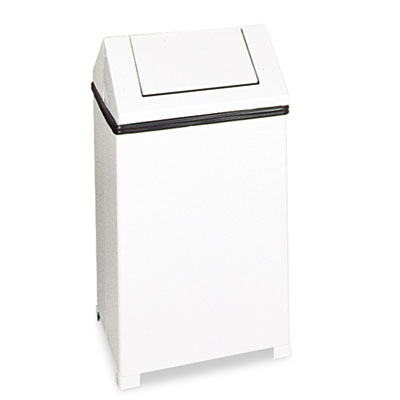 Fire-Safe Swing Top Receptacle, Square, Steel, 24gal, White