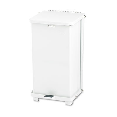 Defenders Biohazard Step Can, Square, Steel, 12gal, White