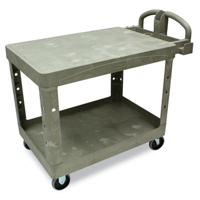 Flat Shelf Utility Cart, Two-Shelf, 25-1/4w x 44d x 38-1/8h, Bei
