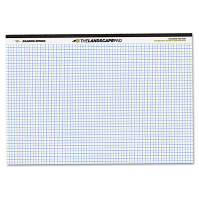 Landscape Format Writing Pad, Quad Ruled, 11 x 9-1/2, White, 40