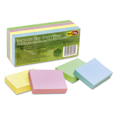 100% Recycled Notes, 1 1/2 x 2, Four Pastel Colors, 12 100-Sheet