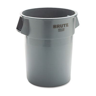 Brute Refuse Container, Round, Plastic, 55gal, Gray