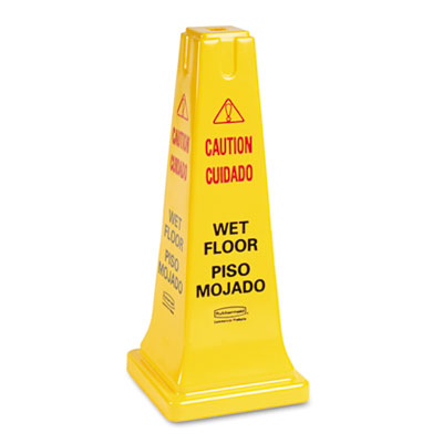 Four-Sided Caution, Wet Floor Safety Cone, 10 1/2w x 10 1/2d x 2