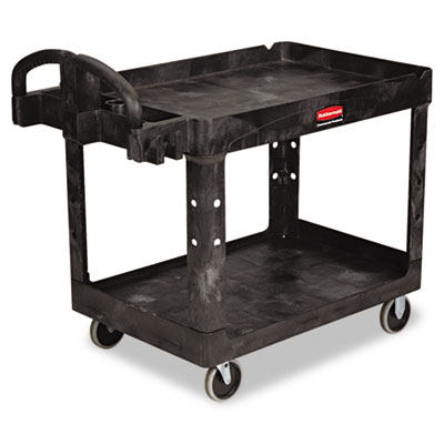 Heavy-Duty Utility Cart, Two-Shelf, 25-1/4w x 44d x 39h, Black