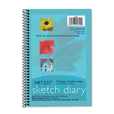 "Art1st Sketch Diary, 9"" x 6"", White, 70 Sheets"