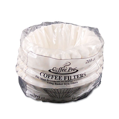 Basket Filters for Drip Coffeemakers, 10 to 12-Cups, White, 200