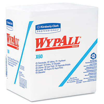 WYPALL X60 Wipers, 1/4-Fold, 12 1/2 x 13, White, 76/Box, 12 Boxe