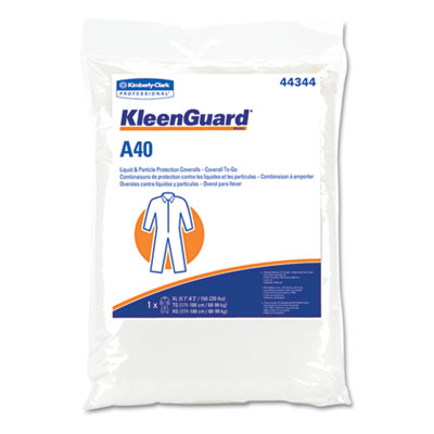 KLEENGUARD A40 Coverall To-Go, Microporous Film Laminate, XL, Wh
