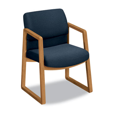 2400 Series Guest Arm Chair, Harvest Finish, Blue Fabric