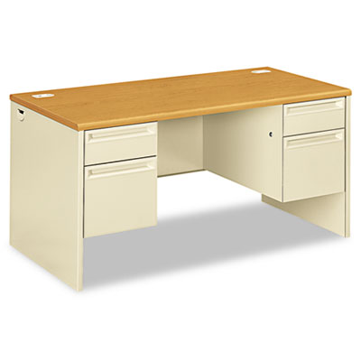38000 Series Double Pedestal Desk, 60w x 30d x 29-1/2h, Harvest/