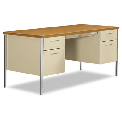 34000 Series Double Pedestal Desk, 60w x 30d x 29-1/2h, Harvest/