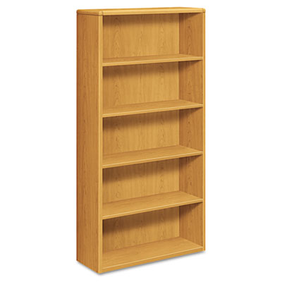 10700 Series Wood Bookcase, Five-Shelf, 36w x 13-1/8d x 71h, Har
