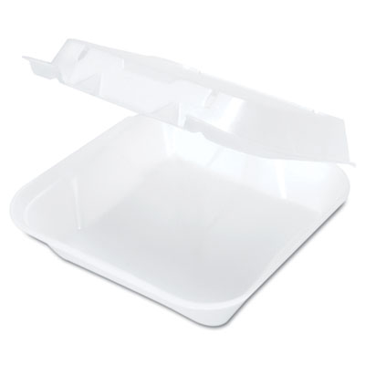 Snap It Foam Container, 8 1/4 x 8 x 3, White, 100/Bag, 2 Bags/Ca