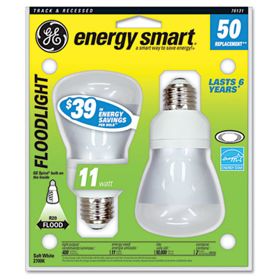 Compact Fluorescent Bulb, 14 Watt, R20 Reflector, Soft White, 2/