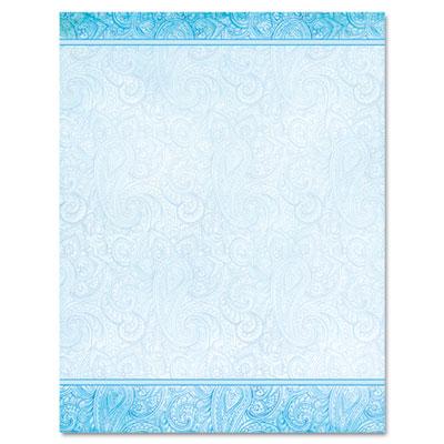 Design Paper, 24 lb, Aqua Paisley, 8-1/2 x 11, 100/Pack